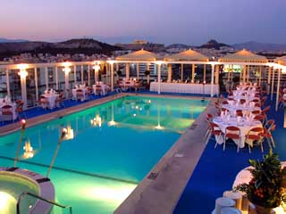 Athens Ledra Hotel Swimming Pool At Night